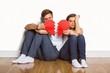 Obrazy na płótnie, fototapety, zdjęcia, fotoobrazy drukowane : Young couple holding broken heart