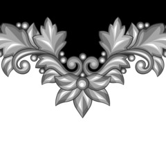 Background with baroque ornamental floral silver elements.