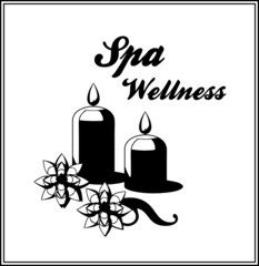 black vintage spa candles and flowers