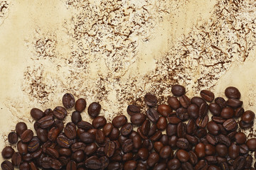 coffee beans on abstract background with streaks and stains