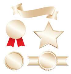 Golden ribbon and blank awards and star