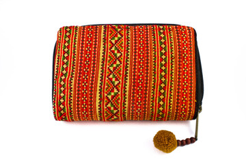 fabric wallet in tribal style, woven natural product