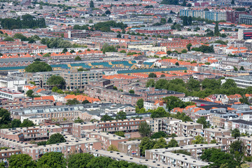 Aerial cityscape residential area of The Hague