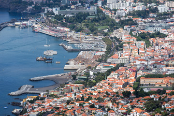 Aerial cityscape port area of Funchal, Madeira Island, Portugal