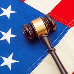 Wooden judge gavel with US flag - closeup shoot - 1 to 1 ratio