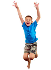 happy child exercising and jumping