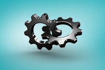 Composite image of linking chrome cog and wheel