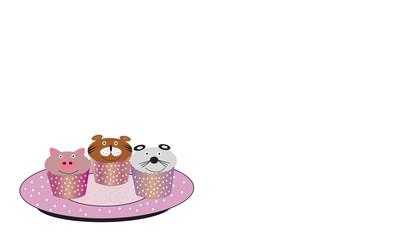 Magdalenas infantiles con animales