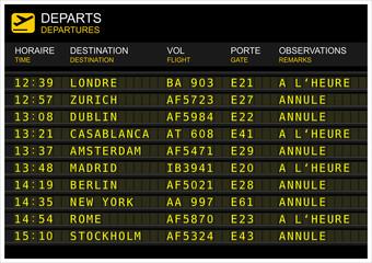 Tableau des départs de vols. Gève, vol annulé