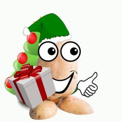 little potato man with christmas gift