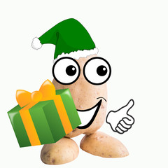 little potato man elf with christmas gift