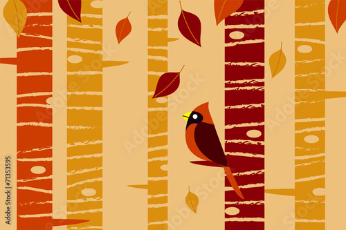 Falling Leaves and Cardinal