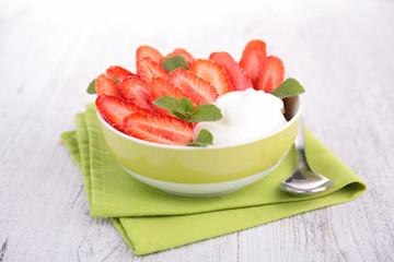 yogurt and strawberry