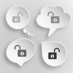 Opened lock. White flat vector buttons on gray background.