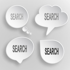 Search. White flat vector buttons on gray background.