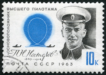 USSR -1963: shows P.N. Nesterov (1887-1914), pioneer stunt flyer