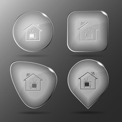 Home TV. Glass buttons. Vector illustration.
