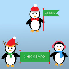 Penguins holding the flags and banner for Merry Christmas