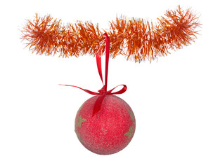 red christmas ball on tinsel isolated on white