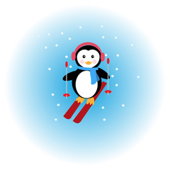 Penguin skiing in the snow