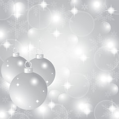 Silver Christmas background with Christmas balls and snowflakes