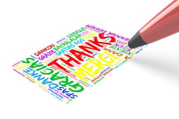 Stift schreibt Danke in vielen Sprachen
