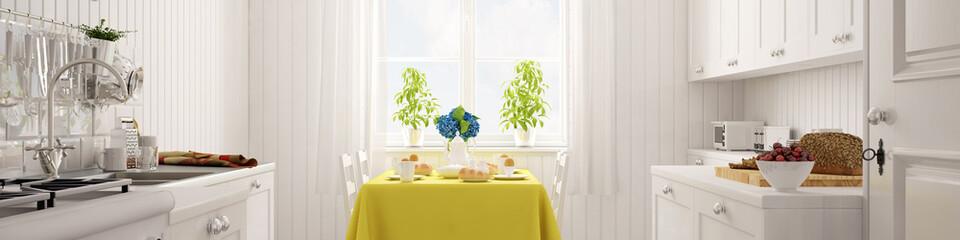 Panorama einer Küche mit gedecktem Tisch