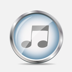 Music Glossy Icon Vector Illustration
