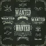 Fototapety Wanted Vintage Western Banners On Chalkboard