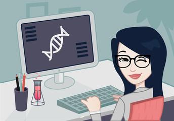 Scientist working in her desk