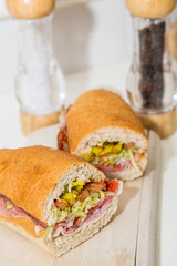 Italian Sub Sandwich with Salt and Pepper Shakers