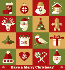 Christmas design icons set. Vector background.
