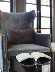 Armchair in living room pillow and book on the table