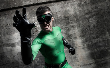 Aggressive superhero close-up
