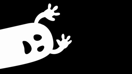 animated halloween cartoon ghost character on black background