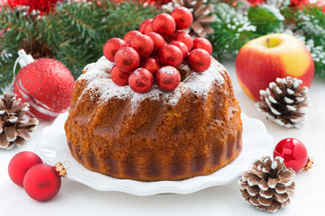 Christmas fruitcake on a plate