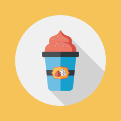 milk cream coffee flat icon with long shadow,eps10
