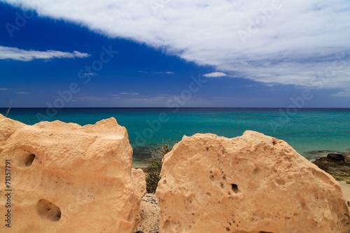 canvas print picture Fuerteventura Steine vor Meeraussicht