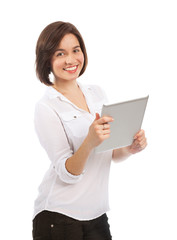Pretty young woman using a touchpad