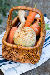 Fresh vegetables in basket from market