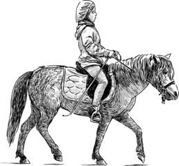 little girl riding on the pony