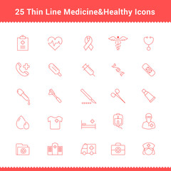 Set of Thin Line Stroke Medical Icon