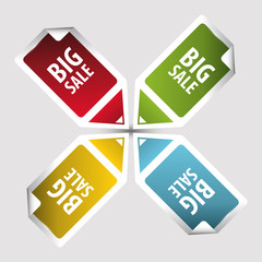 Big Sale tags. Text on square sticker tags with arrow. Vector
