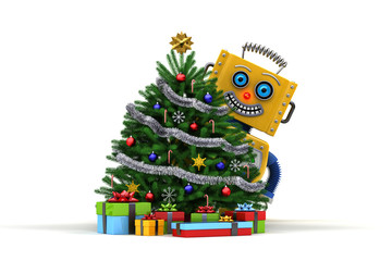 Happy Toy robot with christmas tree and presents