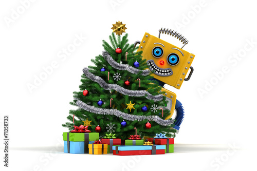 Happy Toy robot with christmas tree and presents - 71358733