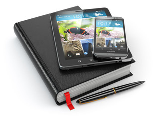 Notebook, tablet pc and mobile phone.