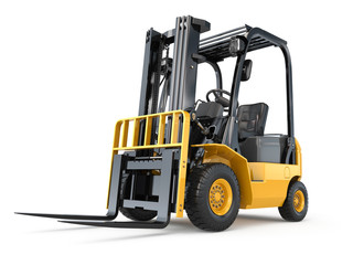 Forklift truck on white isolated background. © Maksym Yemelyanov