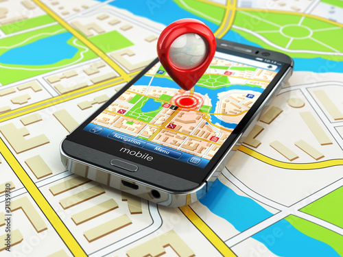 Mobile GPS navigation concept. Smartphone on map of the city, - 71359330