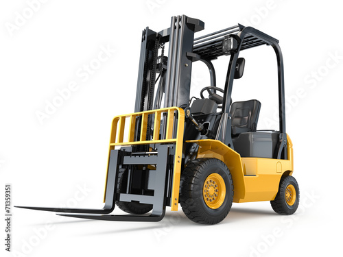 canvas print picture Forklift truck on white isolated background.