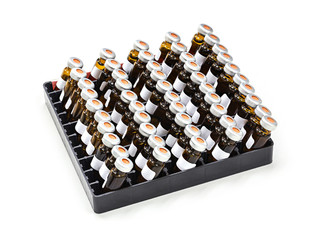 Vials in rack